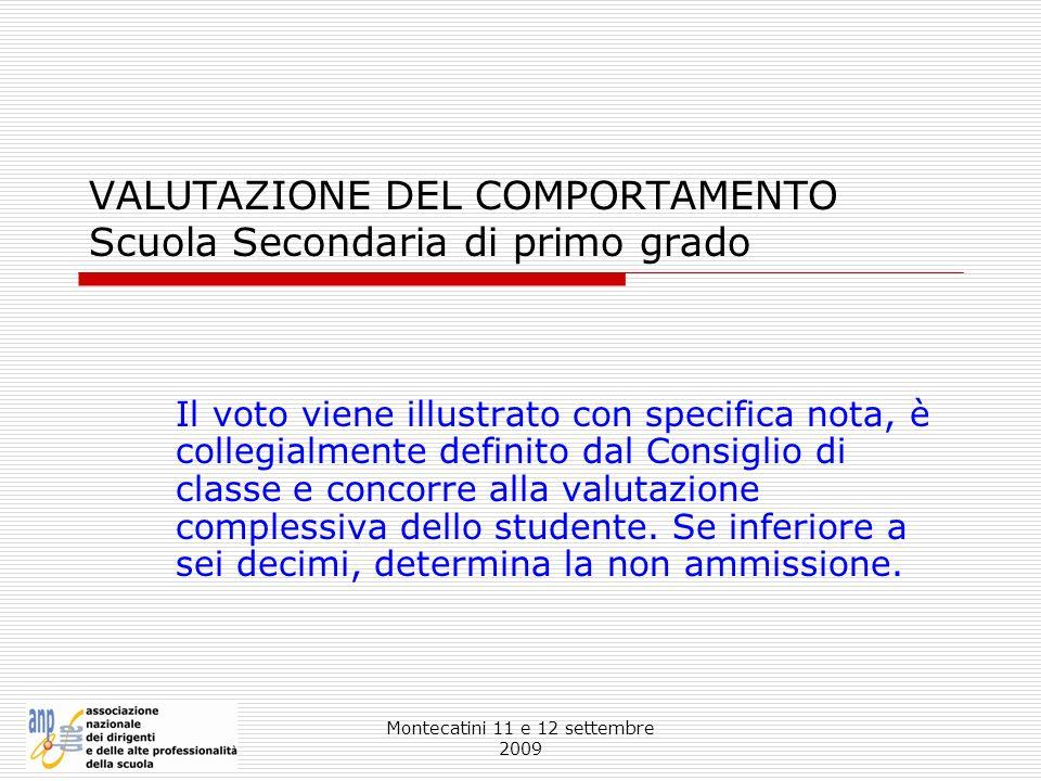 VALUTAZIONE DEL COMPORTAMENTO Scuola Secondaria di primo grado