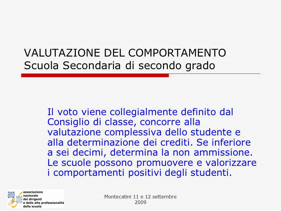 VALUTAZIONE DEL COMPORTAMENTO Scuola Secondaria di secondo grado