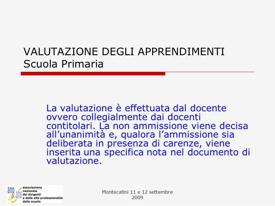 VALUTAZIONE DEGLI APPRENDIMENTI Scuola Primaria