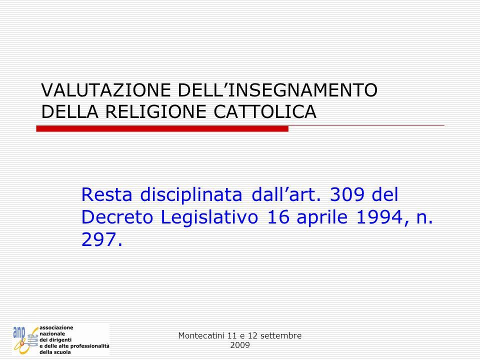 VALUTAZIONE DELL'INSEGNAMENTO DELLA RELIGIONE CATTOLICA