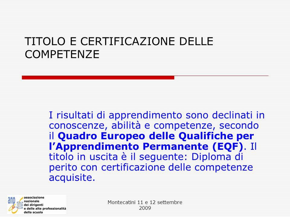 TITOLO E CERTIFICAZIONE DELLE COMPETENZE