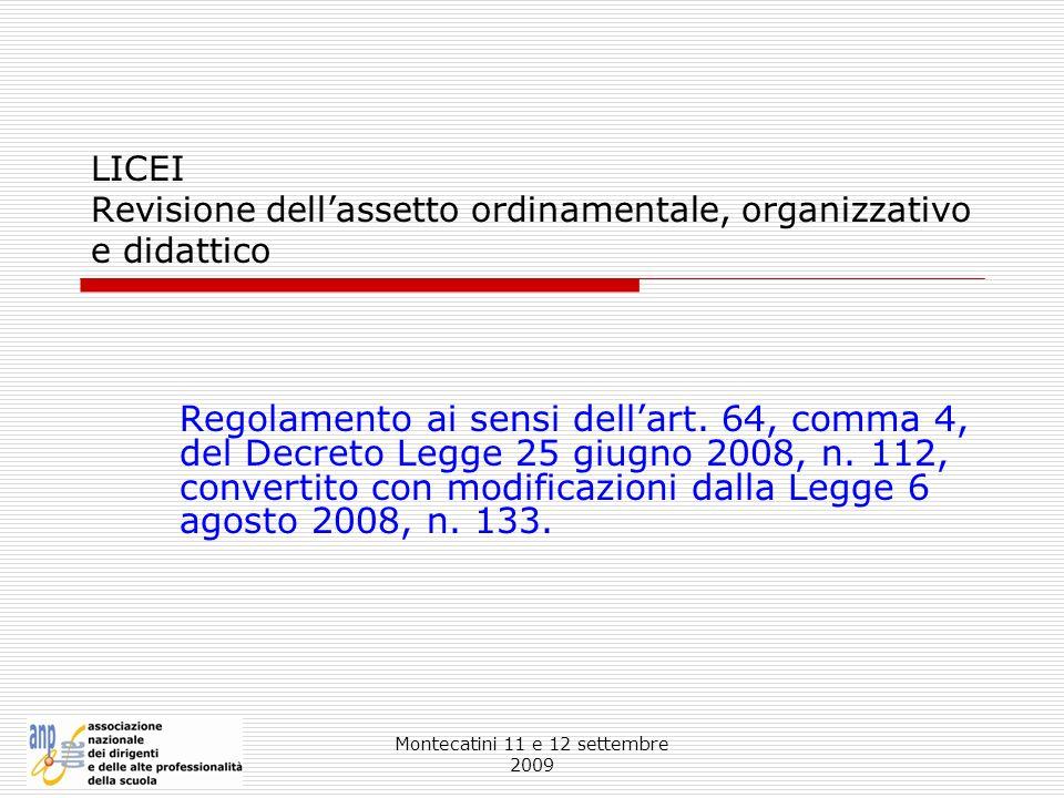 LICEI Revisione dell'assetto ordinamentale, organizzativo e didattico