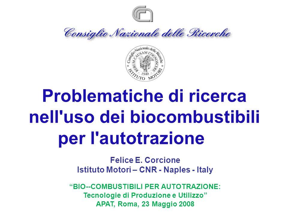 Problematiche di ricerca nell uso dei biocombustibili per l autotrazione