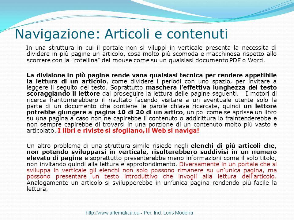 Navigazione: Articoli e contenuti