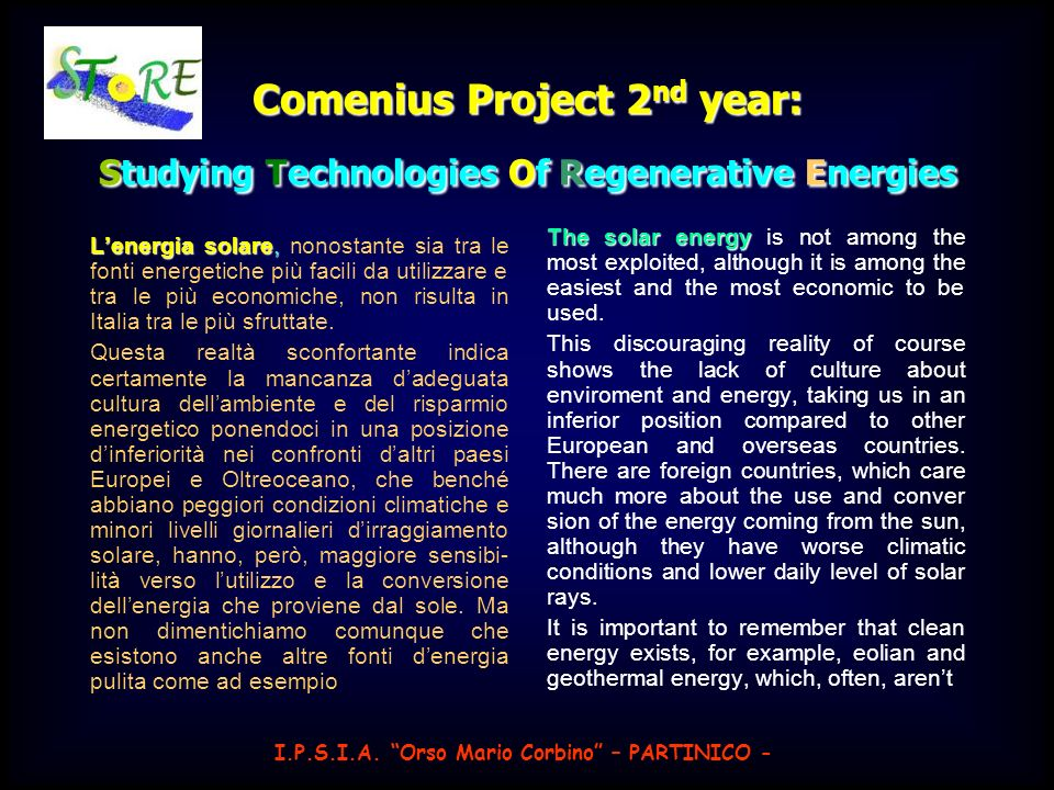 Comenius Project 2nd year: Studying Technologies Of Regenerative Energies