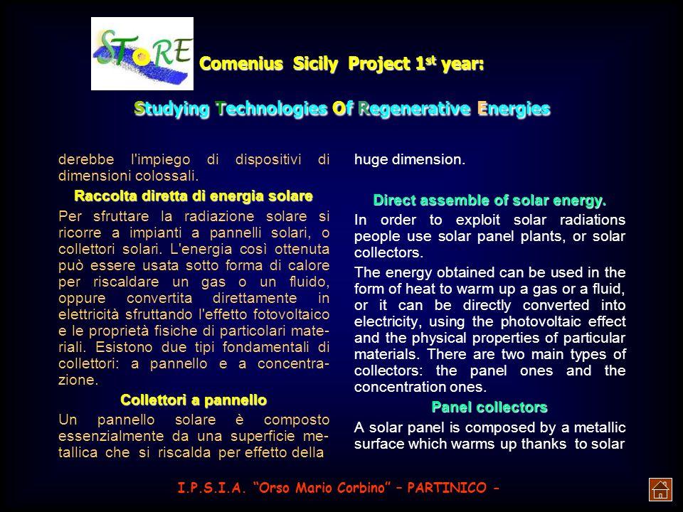 Raccolta diretta di energia solare Direct assemble of solar energy.