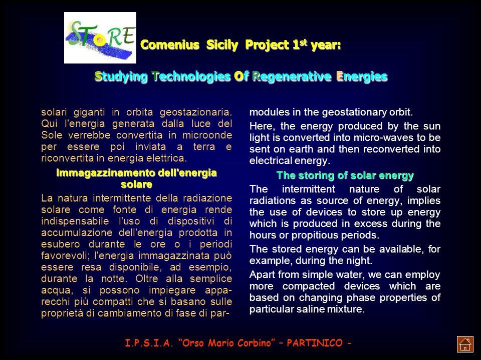 Immagazzinamento dell energia solare The storing of solar energy