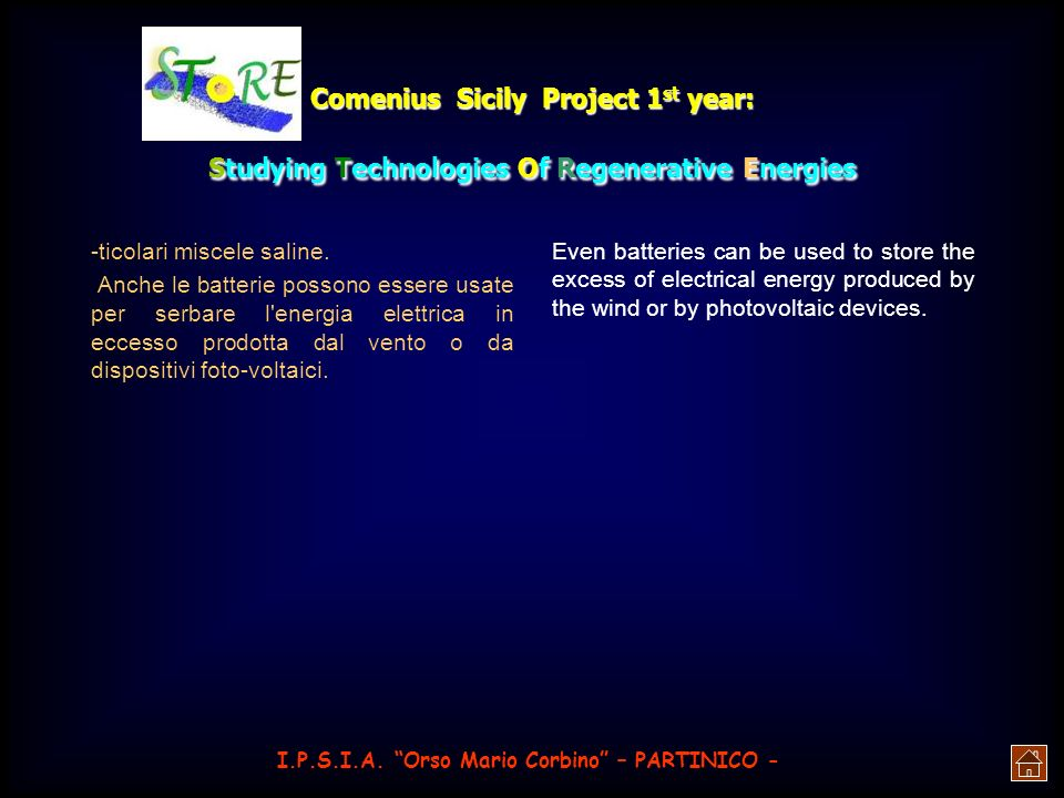 Comenius Sicily Project 1st year: Studying Technologies Of Regenerative Energies