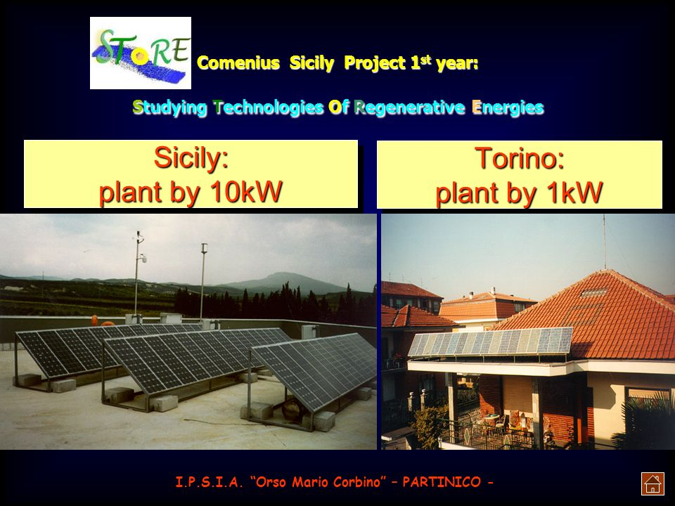 Sicily: Torino: plant by 10kW plant by 1kW