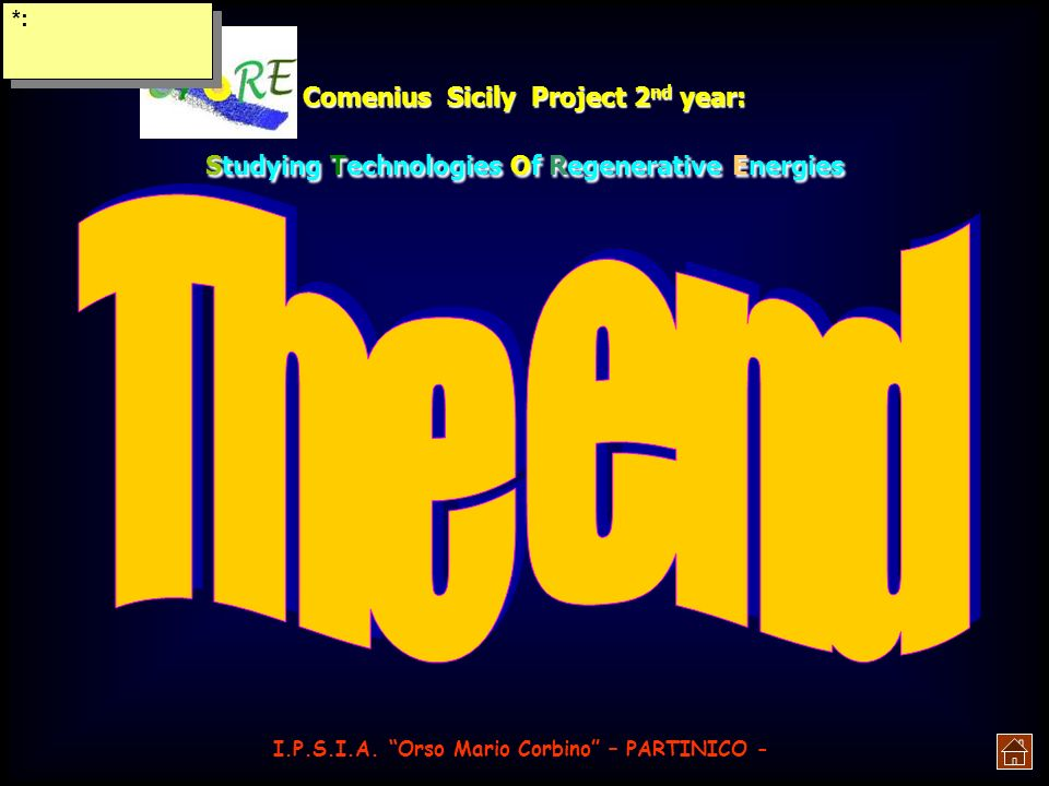 *:Comenius Sicily Project 2nd year: Studying Technologies Of Regenerative Energies.