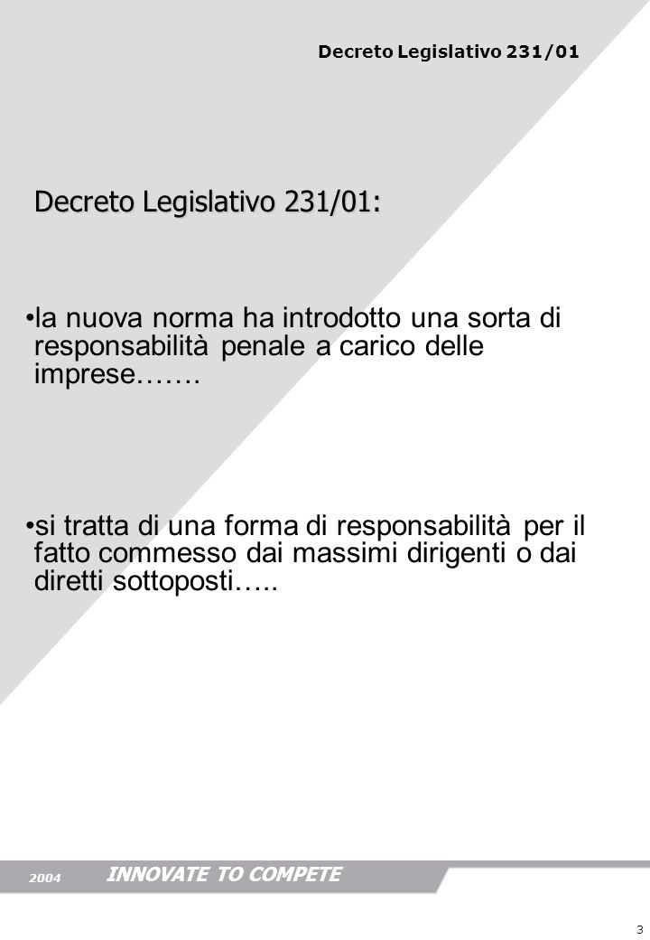 Decreto Legislativo 231/01: