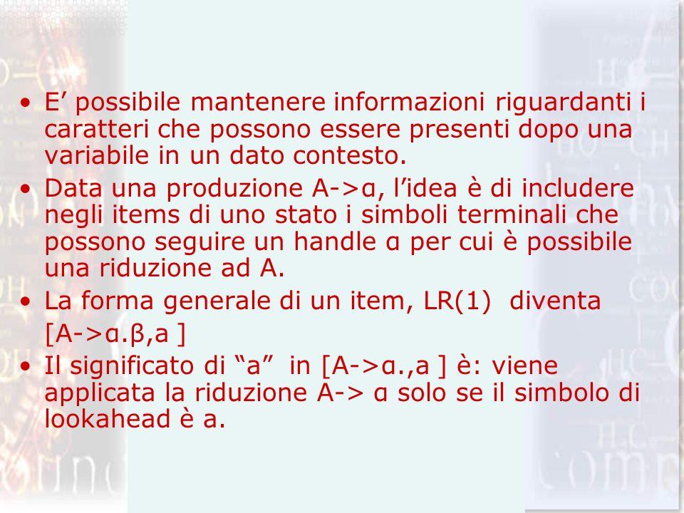 E' possibile mantenere informazioni riguardanti i caratteri che possono essere presenti dopo una variabile in un dato contesto.