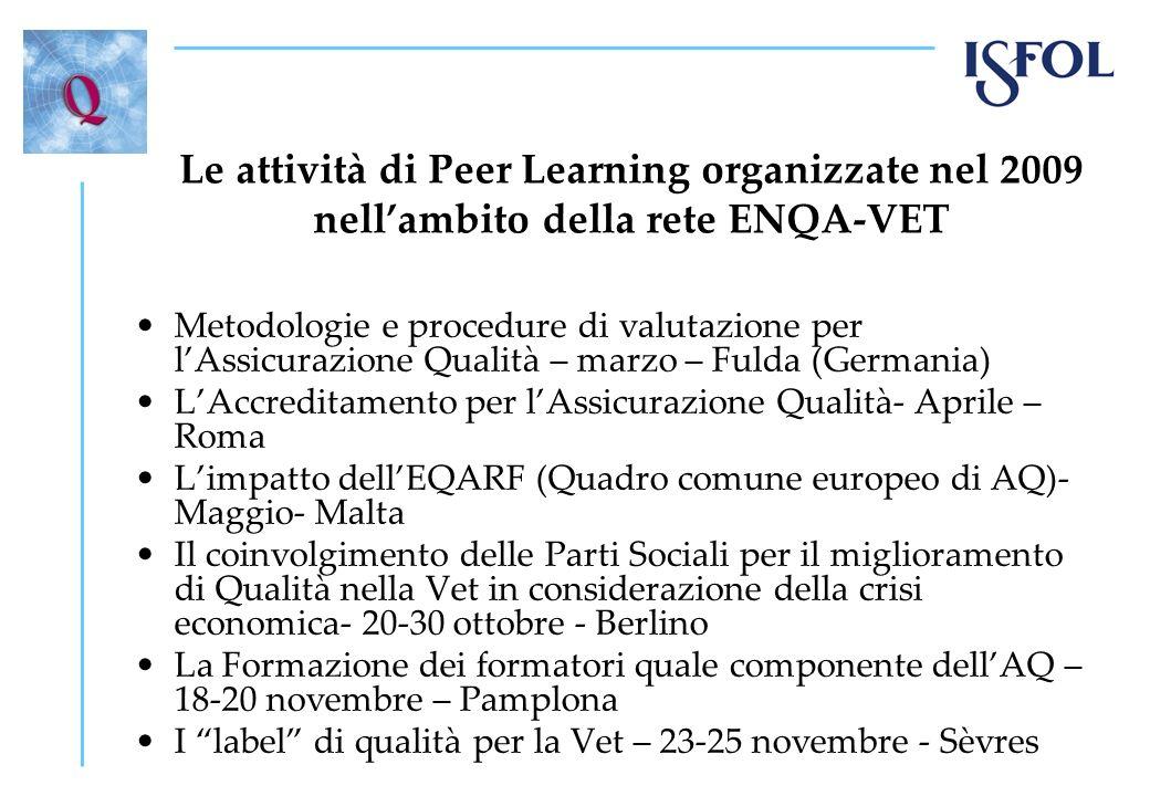 Le attività di Peer Learning organizzate nel 2009 nell'ambito della rete ENQA-VET