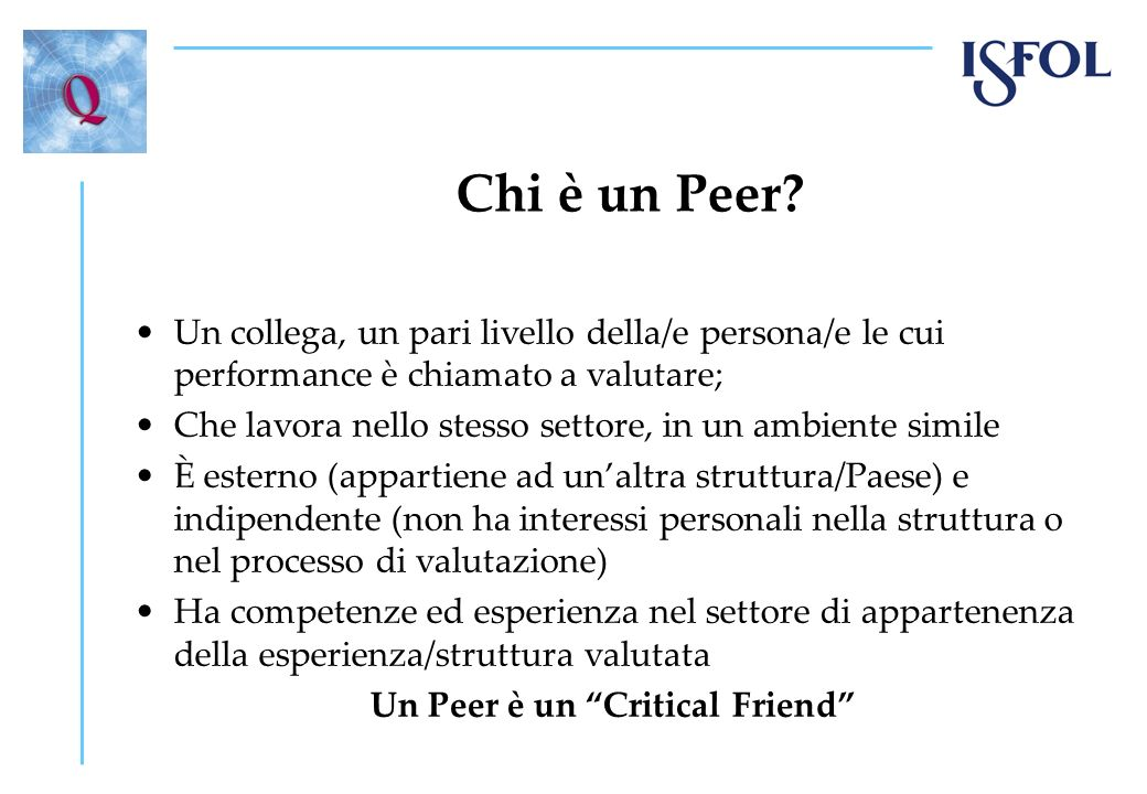 Un Peer è un Critical Friend