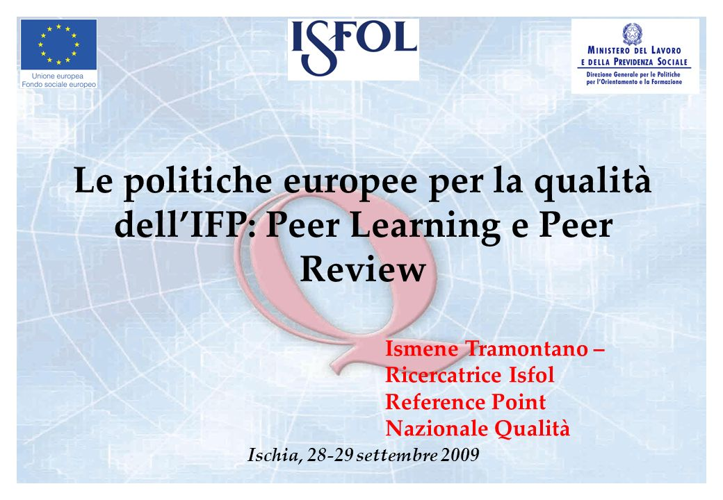 Le politiche europee per la qualità dell'IFP: Peer Learning e Peer Review