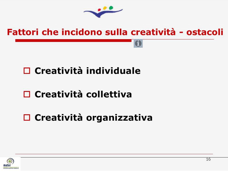 Fattori che incidono sulla creatività - ostacoli