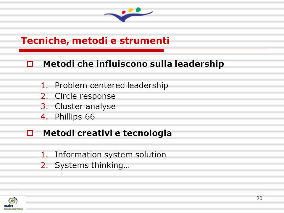 Tecniche, metodi e strumenti