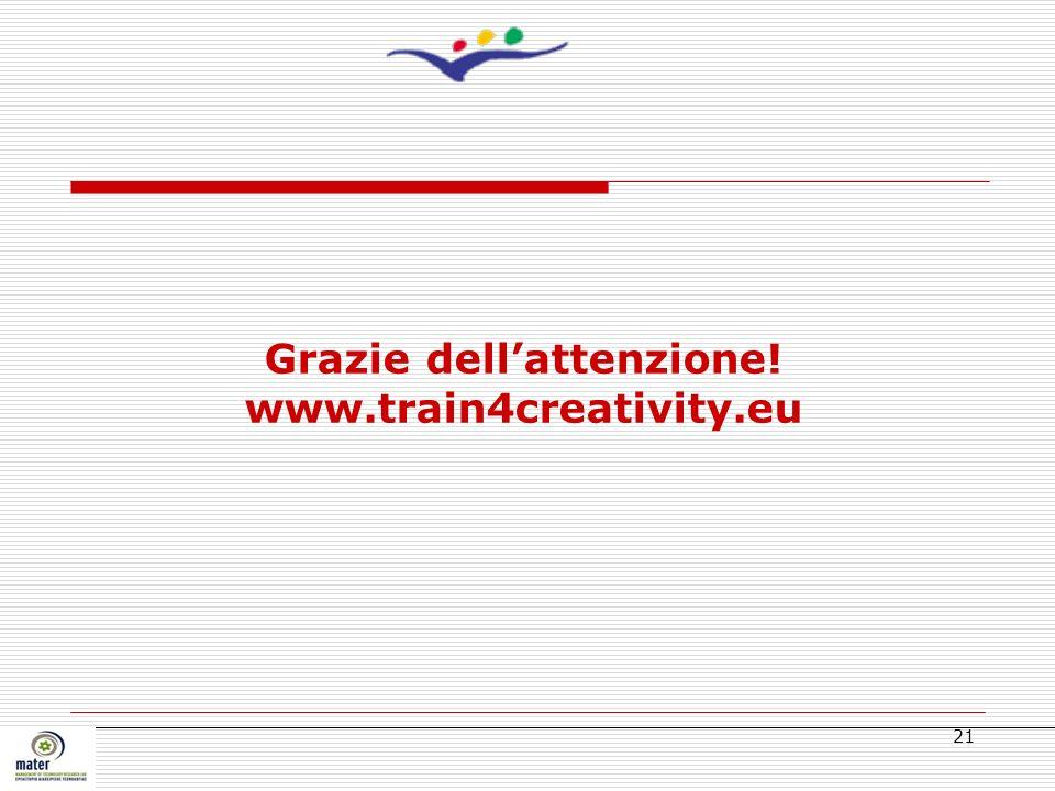 Grazie dell'attenzione! www.train4creativity.eu