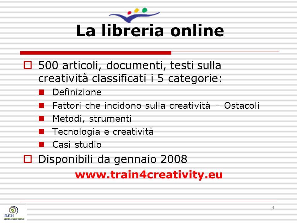 La libreria online 500 articoli, documenti, testi sulla creatività classificati i 5 categorie: Definizione.