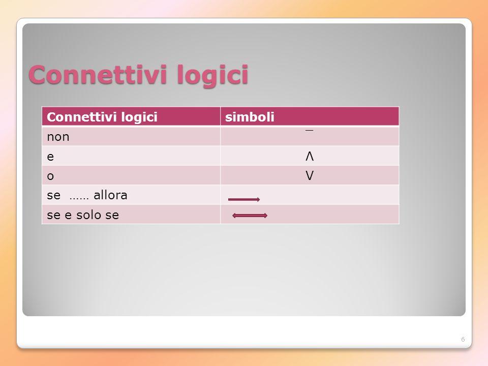 Connettivi logici Connettivi logici simboli non ¯ e Λ o V se …… allora