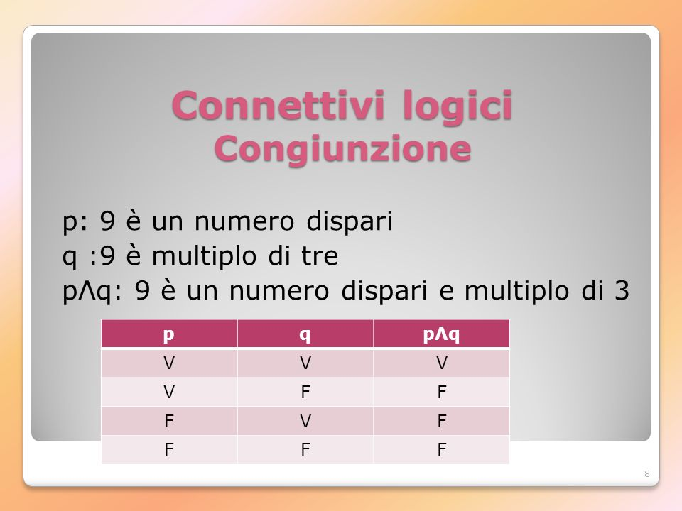 Connettivi logici Congiunzione