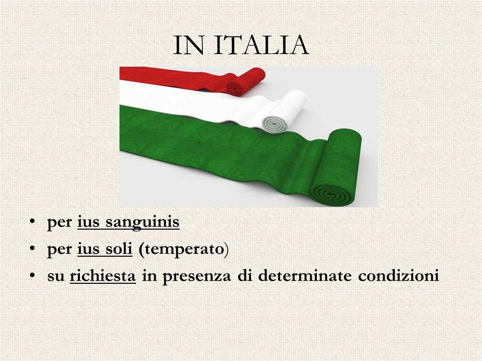 IN ITALIA per ius sanguinis per ius soli (temperato)