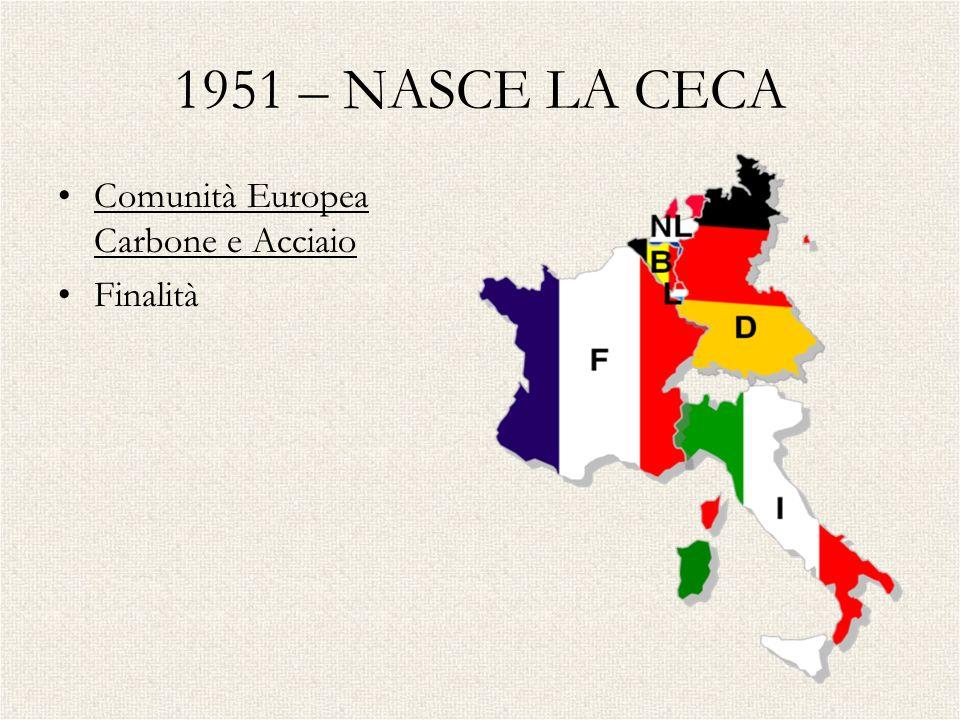 1951 – NASCE LA CECA Comunità Europea Carbone e Acciaio Finalità