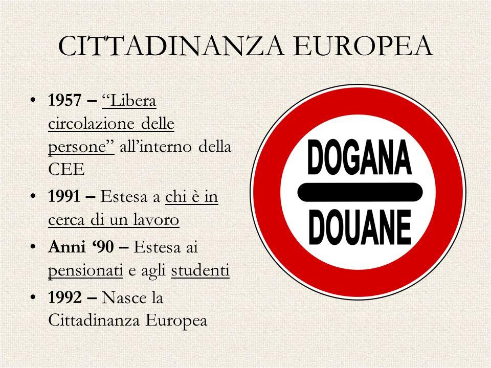 CITTADINANZA EUROPEA 1957 – Libera circolazione delle persone all'interno della CEE. 1991 – Estesa a chi è in cerca di un lavoro.