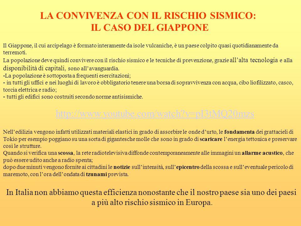 LA CONVIVENZA CON IL RISCHIO SISMICO: