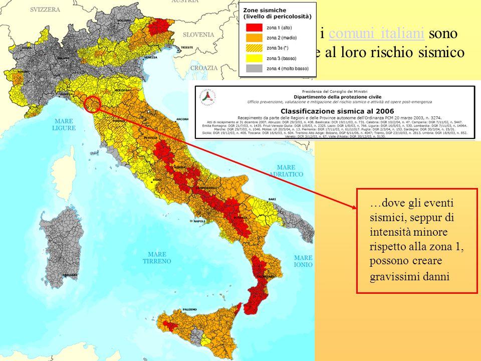 Secondo il provvedimento legislativo del 2003, i comuni italiani sono stati classificati in 4 categorie principali, in base al loro rischio sismico