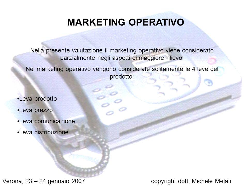 MARKETING OPERATIVO Nella presente valutazione il marketing operativo viene considerato parzialmente negli aspetti di maggiore rilievo.