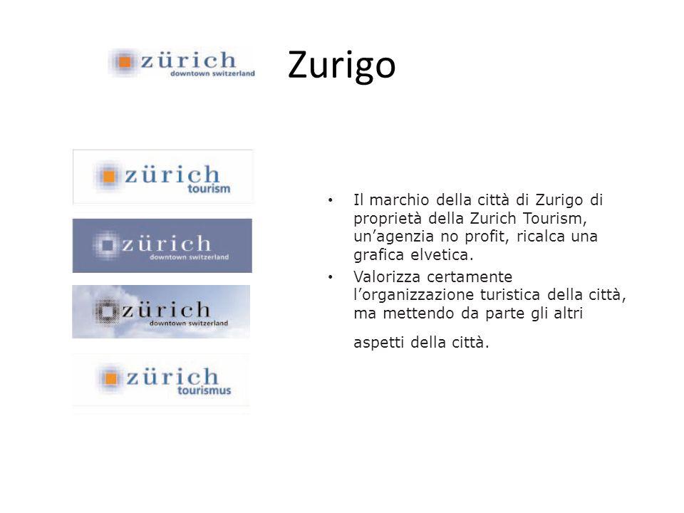Zurigo Il marchio della città di Zurigo di proprietà della Zurich Tourism, un'agenzia no profit, ricalca una grafica elvetica.