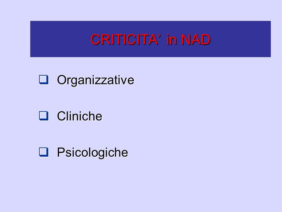 CRITICITA' in NAD Organizzative Cliniche Psicologiche