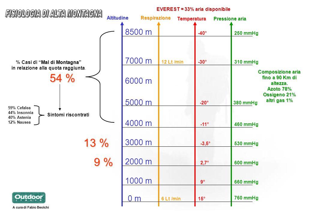 % Casi di Mal di Montagna Composizione aria fino a 90 Km di altezza.