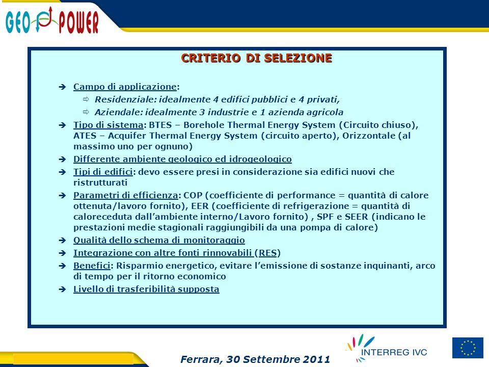 CRITERIO DI SELEZIONE Ferrara, 30 Settembre 2011