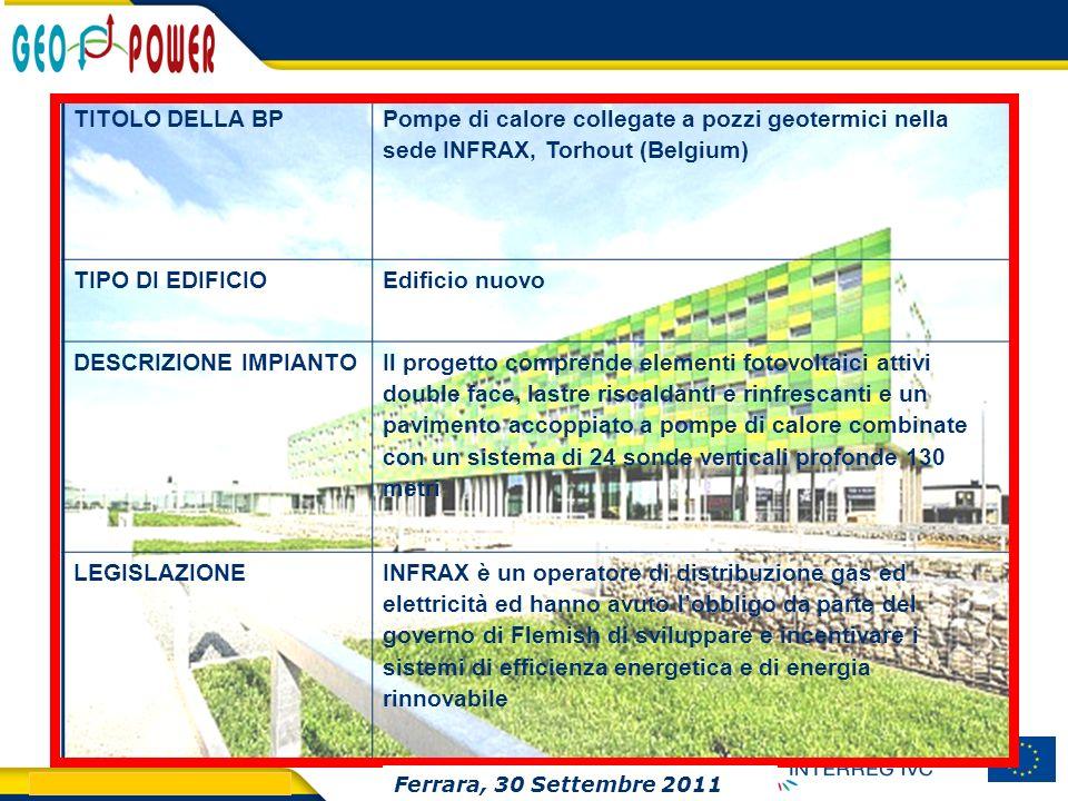 TITOLO DELLA BP Pompe di calore collegate a pozzi geotermici nella sede INFRAX, Torhout (Belgium) TIPO DI EDIFICIO.