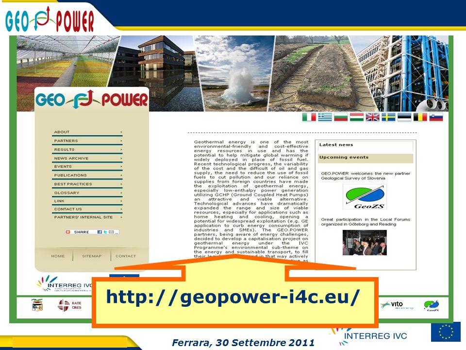 http://geopower-i4c.eu/ Ferrara, 30 Settembre 2011