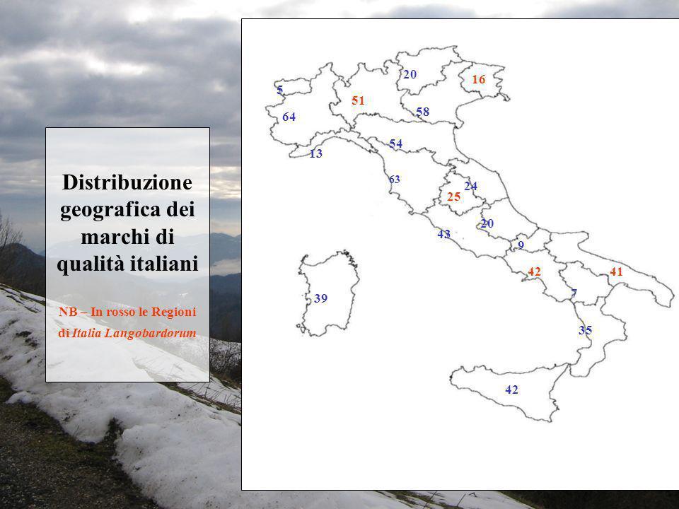 20 16. 5. 51. 58. 64. Distribuzione geografica dei marchi di qualità italiani NB – In rosso le Regioni di Italia Langobardorum.
