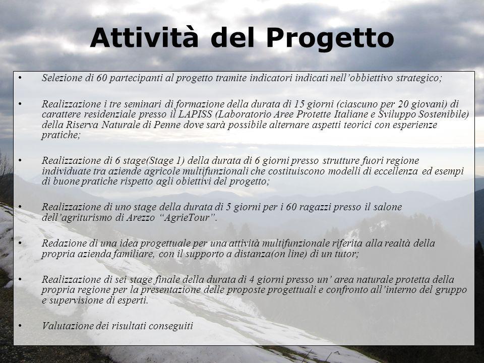 Attività del Progetto Selezione di 60 partecipanti al progetto tramite indicatori indicati nell'obbiettivo strategico;