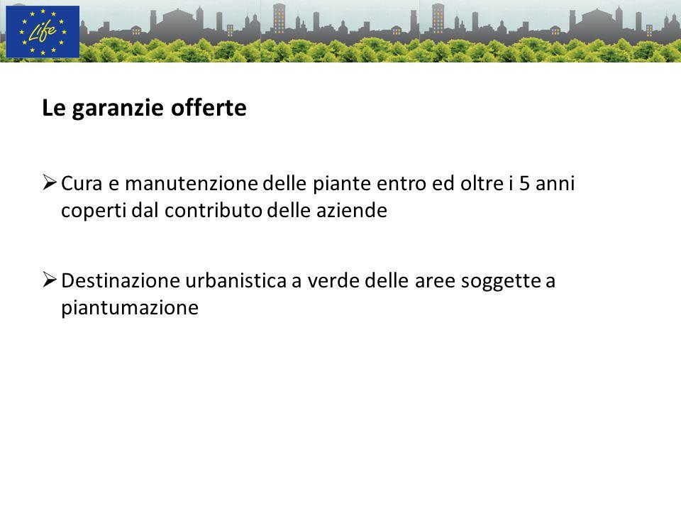 20/12/10Le garanzie offerte. Cura e manutenzione delle piante entro ed oltre i 5 anni coperti dal contributo delle aziende.