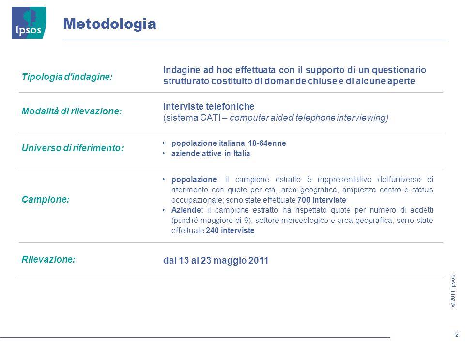 MetodologiaIndagine ad hoc effettuata con il supporto di un questionario strutturato costituito di domande chiuse e di alcune aperte.