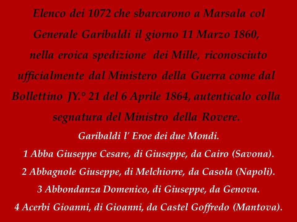 Elenco dei 1072 che sbarcarono a Marsala col Generale Garibaldi il giorno 11 Marzo 1860,
