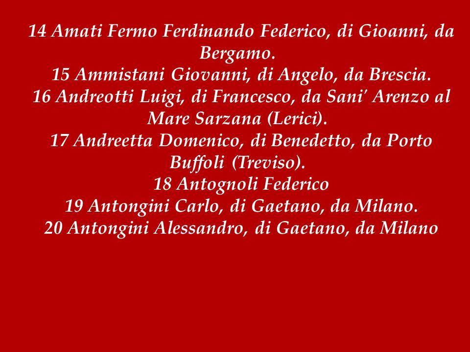 14 Amati Fermo Ferdinando Federico, di Gioanni, da Bergamo.