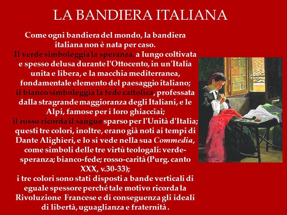il rosso ricorda il sangue sparso per l Unità d Italia;
