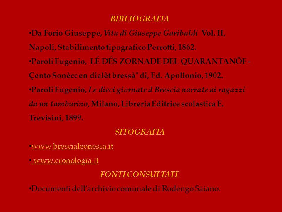 BIBLIOGRAFIA Da Forio Giuseppe, Vita di Giuseppe Garibaldi Vol. II, Napoli, Stabilimento tipografico Perrotti, 1862.