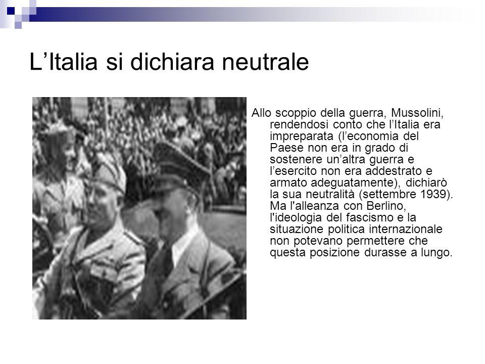 L'Italia si dichiara neutrale