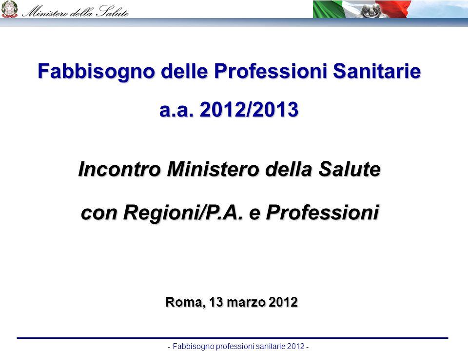 Fabbisogno delle Professioni Sanitarie a.a. 2012/2013