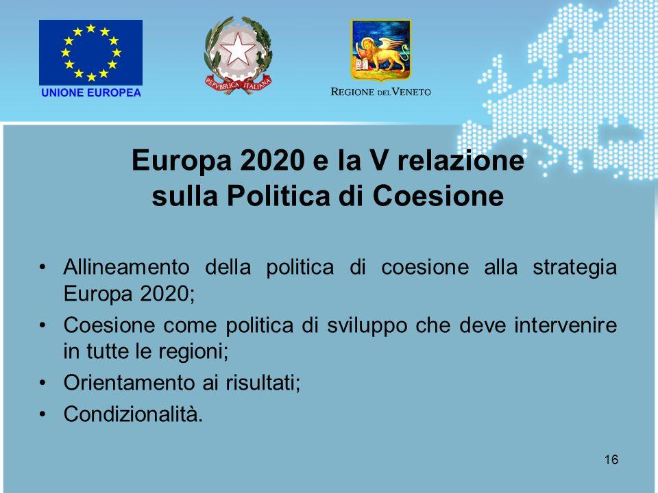 Europa 2020 e la V relazione sulla Politica di Coesione
