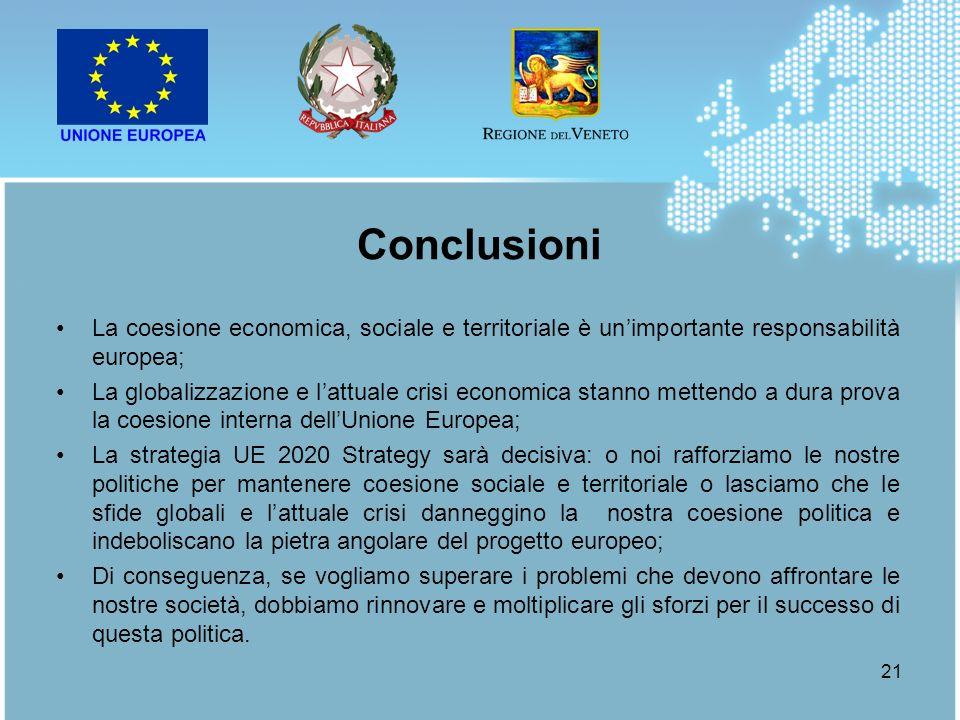 Conclusioni La coesione economica, sociale e territoriale è un'importante responsabilità europea;