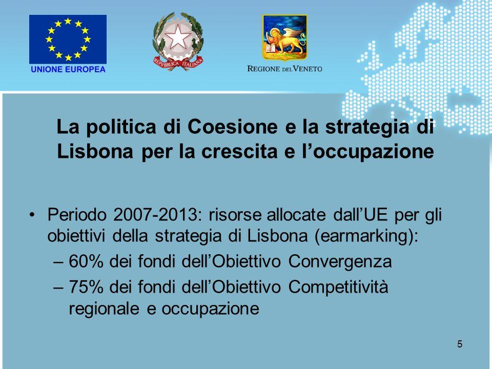 La politica di Coesione e la strategia di Lisbona per la crescita e l'occupazione